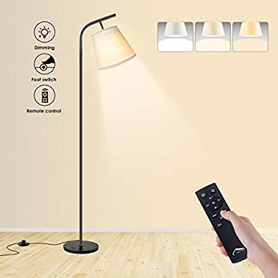 Wellwerks Arc Floor Lamps, Super Bright LED Torchiere Metal Floor Lamps, LED Floor Light with Remote Control?Standing Lamp with Stepless Dimmer for Living Room, Office and Bedroom