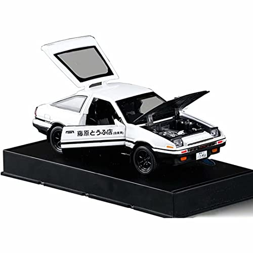 Mzexoma 1:32 Initial D Toyota Trueno AE86 Alloy Diecast Car Model, Sports Car Toys for Kids and Adults ,Pull Back Vehicles Toy Cars (Black Hood+White)
