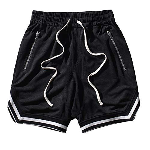 SOMTHRON Men's Elastic Waist Color Trim Cotton Swag Jogger Shorts Drawstring Quick Dry Hip Hop Basketball Shorts Plus Size(BL-XL) Black