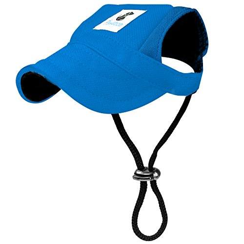 Pawaboo Dog Baseball Cap, Adjustable Dog Outdoor Sport Sun Protection Baseball Hat Cap Visor Sunbonnet Outfit with Ear Holes for Puppy Small Dogs, Small, Blue