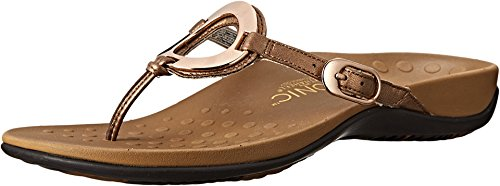 Vionic Women's Rest Karina Toe-Post Sandal - Ladies Flip- Flop with Concealed Orthotic Arch Support Bronze 9 M US