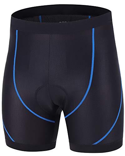 HoloHolo Pantalones Cortos de Bicicleta Ropa Interior Ciclismo Culotte Calzoncillos con Antideslizantes Ciclismo con Badana Gel para Hombre y Mujere MTB Bici Acolchado Ciclista Unisexo (Azul, L)