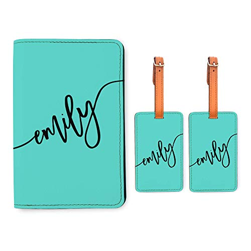 Personalized RFID Passport Holder 2 Matching Luggage Tag Set - Mint