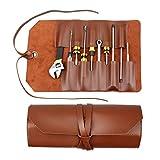 SSYFC Bolsa enrollable de cuero, bolsa de herramientas con 10 ranuras, bolsa enrollable multiusos para almacenar cuchillos plegables de talla de madera, llaves y destornilladores, alicates
