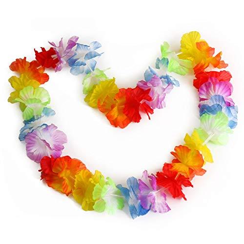 Vektenxi 10 Stück Hawaiian Beach Luau Party Blumengirlande Lei Leis Halskette Bunte Deko bequem und praktisch