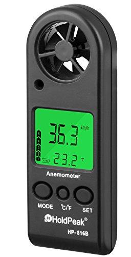デジタルミニサイズ風速計-HoldPeak816B風速&温度同時計測ウィンドサーフィン用風速計カイトフライングセーリングサーフィン用釣り-この風速計は風速+温度+風冷をバックライトとオートパワーオフで
