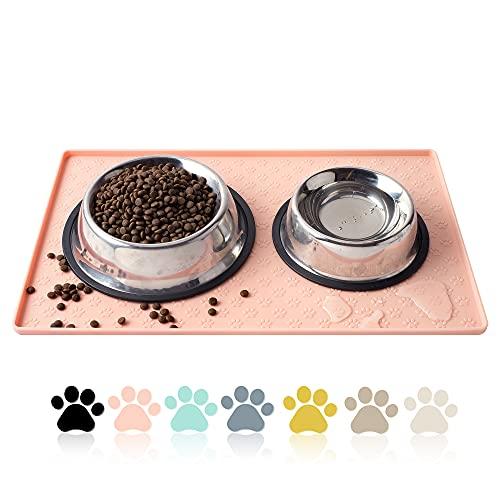 Coomazy Tappetini sottociotola per Cani e Gatti, Ciotole Vassoio di Posizionamento Antiscivolo Impermeabile in Silicone per Animali Domestici per prevenire fuoriuscite di Cibo(M: 48x30cm, Rosa)