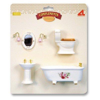 Accessoires pour maison de poupées - Mobilier pièce par pièce : Ensemble sanitaire