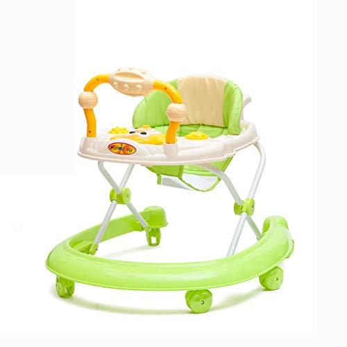 Moolo Trotteurs Trotteur pour bébés, 6 Mois à 15 kg Premiers pasInclut 3 Roues en 1 Tour Musique légère Centre de Jeu Amovible et Hauteur du siège réglable (Couleur : Vert)