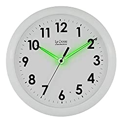 La Crosse Illuminated 403-310 10 Inch White wall clock