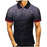 waotier Camisa Polo Personalidad de la Moda Casual de los Hombres de Manga Corta de Color Degradado Camiseta Estampada Blusa Superior