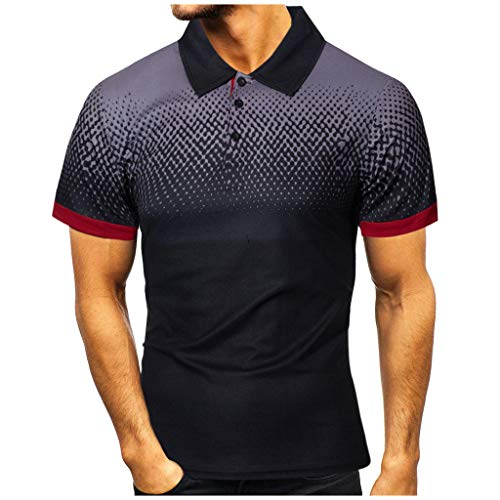 Yowablo Hommes Polo T-Shirts Manches Courtes Casual Personnalité de la Mode Casual Slim imprimé (S,2 Noir)