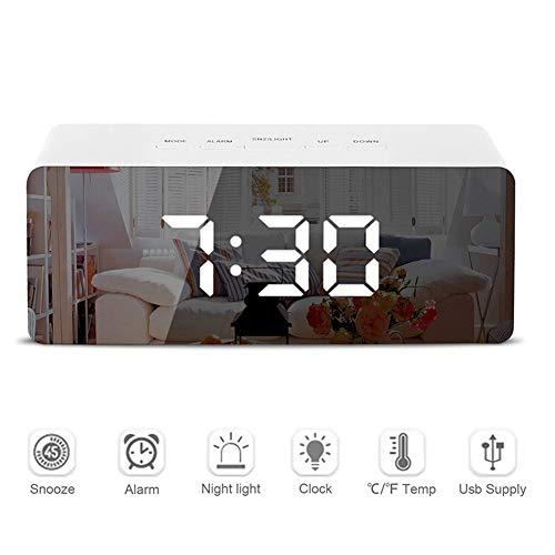 BIGMALL LED Spiegel Wecker Digital Snooze Tischuhr Elektronische Zeit Temperatur Großanzeige Mit Aufwachlicht