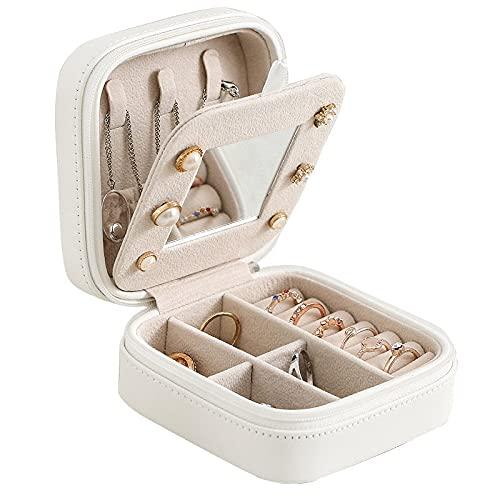 Caja organizadora de joyas de franela para collares, pendientes, anillos, caja de almacenamiento de gran capacidad con cerradura para mujer (color: blanco, tamaño: L)