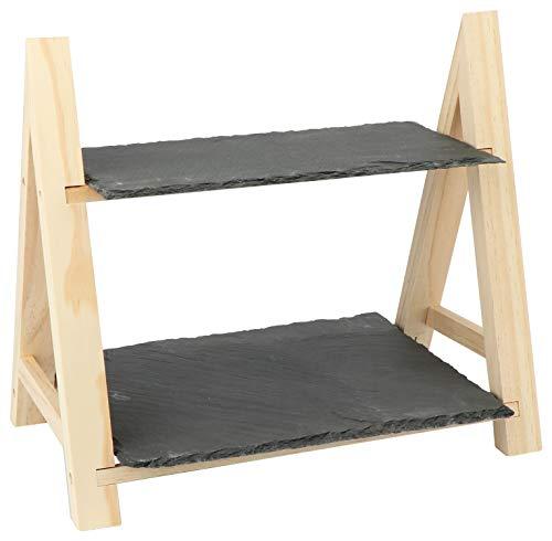 com-four® Servierständer mit 2 Ebenen - Etagere aus Holz mit Schieferplatten - ideal für Snacks, Tapas, Käse, Sushi oder Gebäck