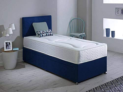 Revive Direct Velvet Bed With 2 Storage Drawers | Divan Bed With Plain Headboard & Short Metal Legs | With Comfortable Orthopaedic Memory Foam Mattress & Chrome Feet - Plush Blue - 4ft Small Double