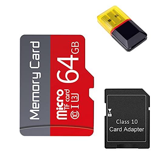 Gmjay Tarjeta Micro SD con Adaptador Tarjeta de Memoria TF de Clase 10 de Alta Velocidad para Teléfonos Celulares/Tacógrafos/Tabletas,64GB