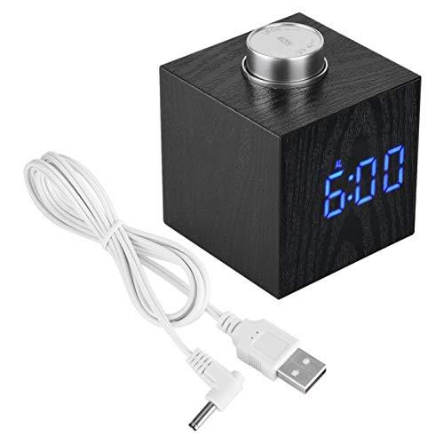 FOLOSAFENAR Retroiluminación LED Reloj Termómetro Moderno Práctico Reloj Despertador de Escritorio Similar a la Madera Función de repetición, para Oficina, para Dormitorio, para(Blue Light)