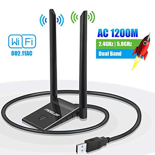 WiFi USB Antena Dongle Adaptador PC 5GHz/867Mbps 2.4GHz/300Mbps AC 1200Mbps Doble Banda Dual 5dBi para Windows XP/Vista/7/8/10 Mac OS con Cable Extensión