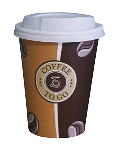 Gastro-Bedarf-Gutheil 50 Pappbecher Einwegbecher EINWEG Coffee to go 0,3 L Top Becher mit 50 Deckel in Weiss Ideal für Coffee Latte Machiato Cappuccino Chocolate Tea Cream