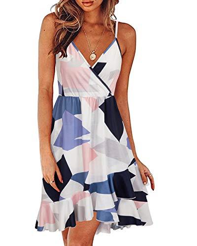 ULTRANICE Womens Summer Floral Wrap V Neck Adjustable Spaghetti Ruffle Dress(Floral)