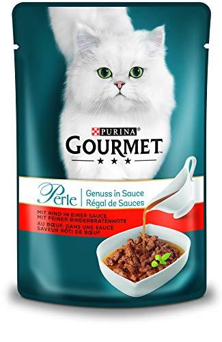 PURINA GOURMET Perle Genuss in Sauce Katzenfutter nass, mit Rind, 24er Pack (24 x 85g)