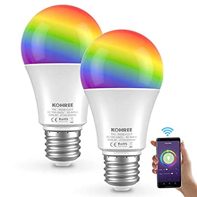 Kohree Smart Light Bulb Compatible, RGBCW Wi-Fi LED Bulb A19[7W 600LM], Multi-Color, Dimmable, No Hub Required, Free APP Remote Controlled, 60W Equivalent (2 Packs) Gift Choice