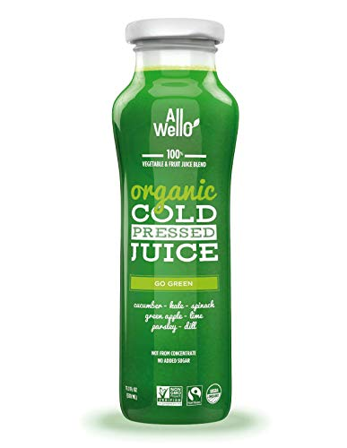 ALLWELLO Organic Cold Pressed Juice Drinks with Real Fruits and Vegetables Gluten Free Non-GMO Healthy Juices No Preservatives No Sugar Added (GO GREEN, 12 PACK)