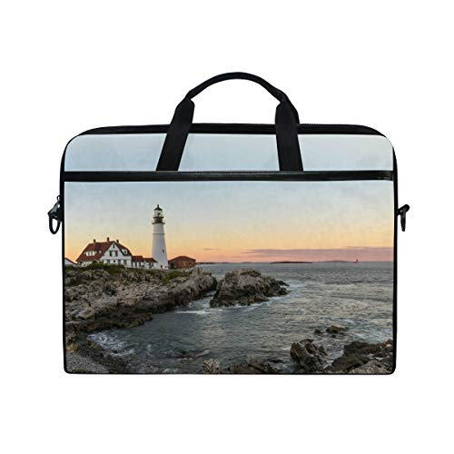 HaJie Laptop Bag Ocean Sea Lighthouse Pattern Print Computer Case 14-14.5 in Protective Bag Travel Briefcase with Shoulder Strap for Men Women Boy Girls