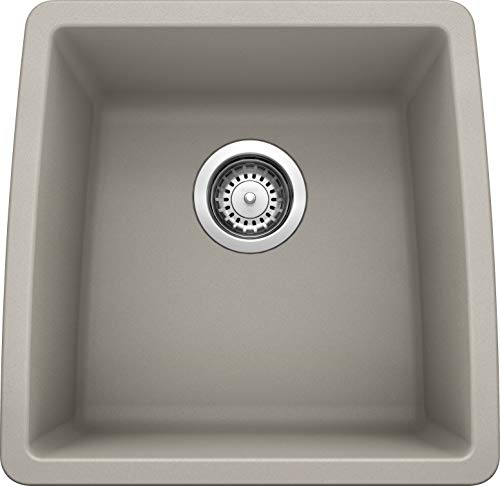 "BLANCO, Concrete Gray 442736 PERFORMA SILGRANIT Undermount Bar Sink, 17.5"" X 17"""