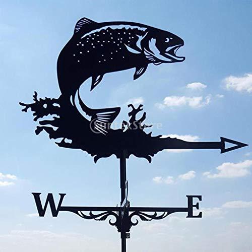 YIWOYI Witch Metal Weather Vane, Weathervane Weather Vane Wind Direction Indicator Yard Scene Stake Ornament Home Windmill Indicator Witch (Salmon)