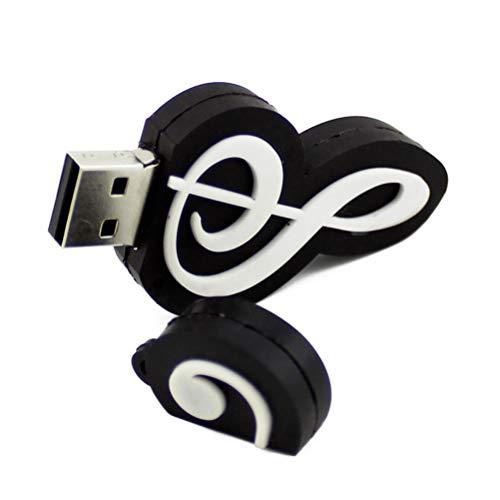 3C Kingdom - Chiavetta USB 2.0 da 32 GB, a forma di nota musicale, con data e penna a sfera, idea regalo (nero)