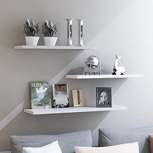 aimu 3 Pack White Wall Floating Shelves,White Floating Wall Mounted Shelves, Set of 3 Display Ledge Shelves Wide Panel for Bedroom Office Kitchen Living Room.Hardware and Fasteners Included.