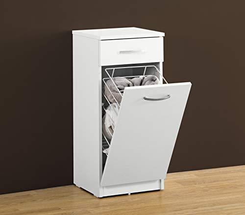 Mobile bagno e lavanderia 1 cassetto e cesto portabiancheria integrato 35,5x35x78,7 cm
