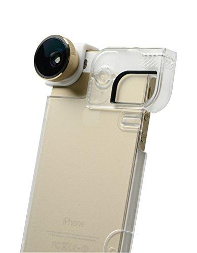 olloclip OCEU-IPH5-FW2M-GDW-C 4-in-1 Fotoobjektiv für iPhone 5 / 5S + Quick-Flip Case + Pro-Photo Adapter (goldene Linse/weißer Clip/transparente Hülle)