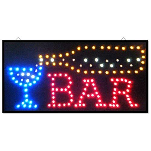 TrAdE Shop Traesio INSEGNA Luminosa A LED con Scritta Bar con Ganci 50X25 CM 220V