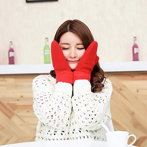 Women Winter Gloves,Rojo Guantes Sin Dedos De Felpa Gruesos Lindos Guantes De...
