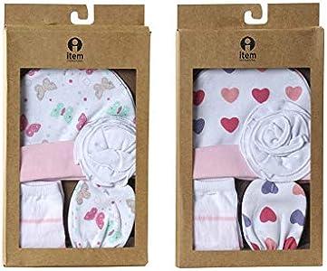 Caja Regalo Set Primera Puesta Bebé Recién Nacido 3 Piezas Algodón 0-6 Meses Corazones (Babero, gorro y patucos) Modelo aleatorio