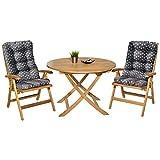 Pack 2 Cojines con Respaldo para Sillas de jardín. Conjunto de 2 Cojines para sillones de Interior y Exterior. Cojín...