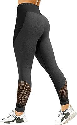 TSUTAYA Seamless Workout Leggings Compression High Waist Yoga Leggings Ultra Soft Moisture Wicking Active Pants Grey, S