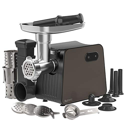 Electric Meat Grinder with 3 Size Sausage Stuffer Tubes & a Kubbe Kit, Salad Maker with 3 Slicer Attachments, Nutronic 2200W Meat Grinder for Home Use, 5.5LBS/Min Meat Mincer