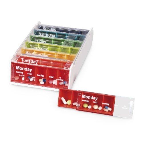 Anabox Wöchentliche Pill Organizer, 7 Tage wöchentliche Medikamente Organizer, täglich Medikamente Erinnerung, 5 Abteile pro Tag, Tablet & Tablettenspender, Schiebedeckel, Regenbogen