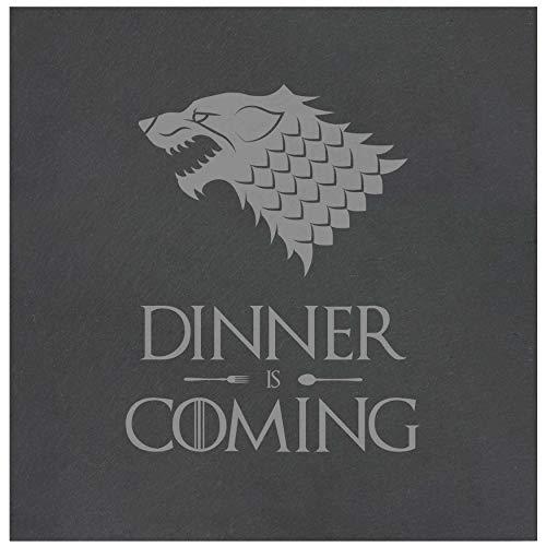 die stadtmeister Platzteller aus Schiefer mit Gravur Dinner is Coming