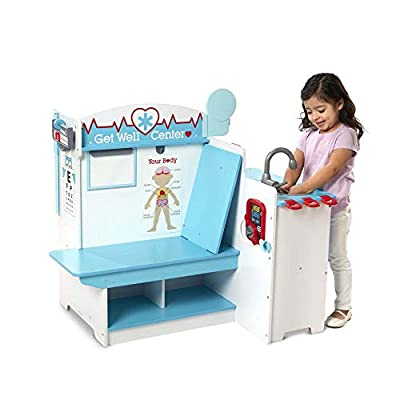 Melissa & Doug Wooden Get Well Doctor Activity Center - Waiting Room, Exam Room, Check-In Area by Melissa & Doug