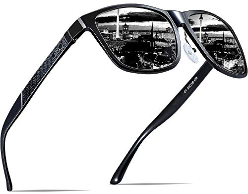 ATTCL Uomo Occhiali da sole polarizzati Super Light Al-Mg Metal Frame 18587black