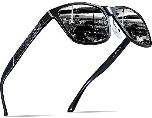 ATTCL Herren Polarisierte Fahren Sonnenbrille Al-Mg Metall Rahme Ultra Leicht, M, Schwarz