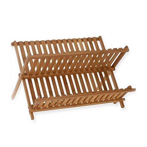 AWJ Kitchen Folding Bamboo Dish Rack Drying Rack Holder Utensil Drainer Plate Storage Holder Plate Wooden Flatware Dish Rack