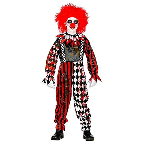 Widmann - Costume de clown pour enfant, combinaison avec col, sang sang, carreaux, rayures, horreur, psycho, tueur, déguisement, fête à thème, carnaval, Halloween.