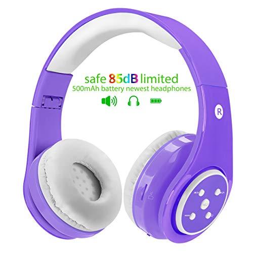 Kinder drahtlose Bluetooth Kopfhörer, 85db Volumen begrenzt, Stereo Sound, Über dem Ohr und eingebautes Mikrofon Kabellose/kabelgebundene Kopfhörer für Jungen und Mädchen (Violett)