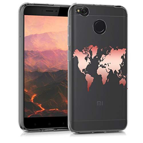 kwmobile Xiaomi Redmi 4X Hülle - Handyhülle für Xiaomi Redmi 4X - Handy Case in Travel Umriss Design Rosegold Transparent